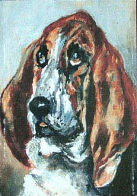 Tete de chien courant, a portrait of a Basset Hound by Toulouse Lautrec